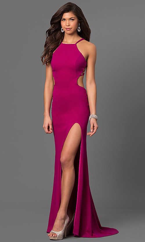 Image of high-neck jersey prom dress by La Femme. Style: LF-24443 Front Image