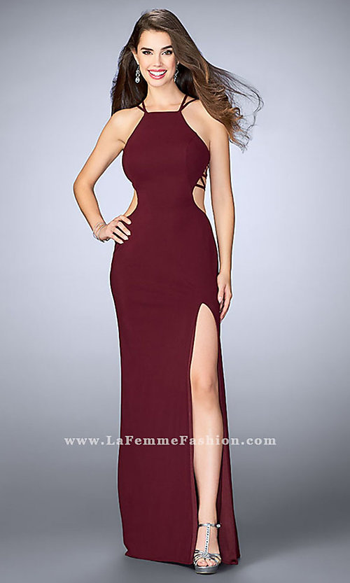 Image of high-neck jersey prom dress by La Femme. Style: LF-24443 Detail Image 3