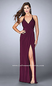 Image of ruched jersey long prom dress with v-neck.  Style: LF-24539 Front Image
