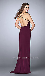 Image of ruched jersey long prom dress with v-neck.  Style: LF-24539 Back Image