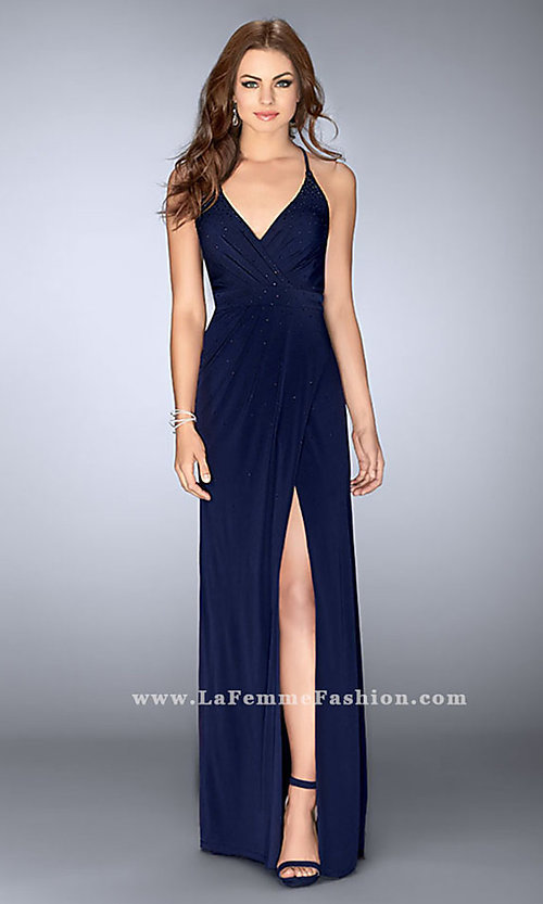Image of ruched jersey long prom dress with v-neck.  Style: LF-24539 Detail Image 1