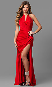 Image of long La Femme prom dress with open back. Style: LF-24225 Detail Image 3