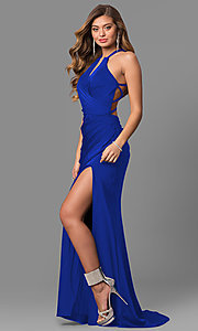Image of long La Femme prom dress with open back. Style: LF-24225 Front Image