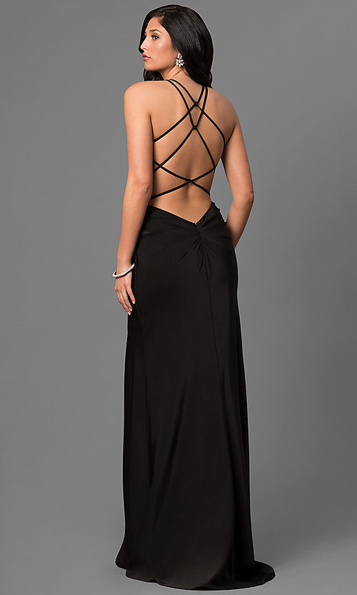 Image of long La Femme prom dress with open back. Style: LF-24225 Back Image