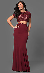Image of long two-piece prom dress with short sleeves. Style: LF-23912 Detail Image 2