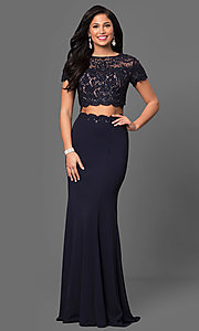 Image of long two-piece prom dress with short sleeves. Style: LF-23912 Front Image