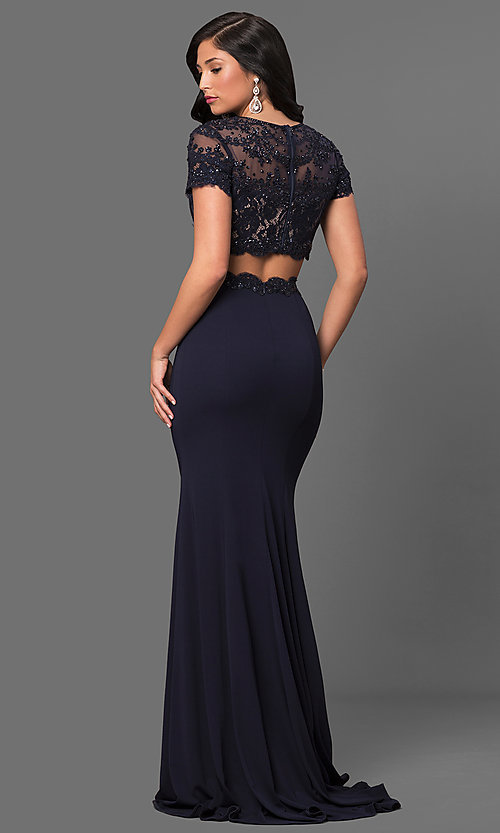 Image of long two-piece prom dress with short sleeves. Style: LF-23912 Back Image