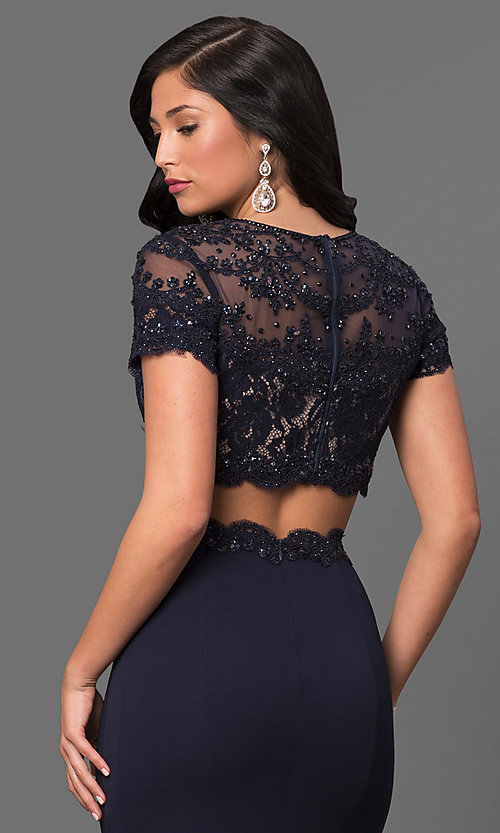 Image of long two-piece prom dress with short sleeves. Style: LF-23912 Detail Image 1