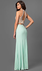 Image of two-piece long jersey high-neck prom dress. Style: LF-23853 Back Image