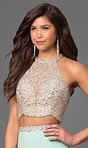 Image of two-piece long jersey high-neck prom dress. Style: LF-23853 Detail Image 1