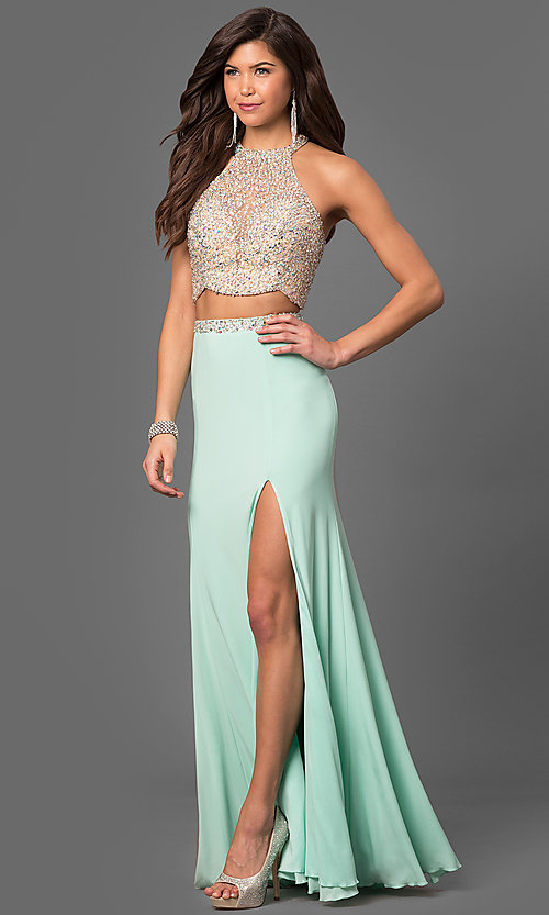Image of two-piece long jersey high-neck prom dress. Style: LF-23853 Front Image