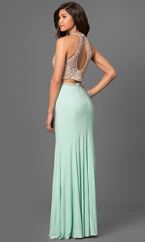 Two Peice High Neck Prom Dresses 2018
