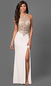 Image of beaded sheer-bodice long prom dress by La Femme Style: LF-23852 Front Image
