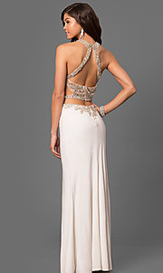 Image of beaded sheer-bodice long prom dress by La Femme Style: LF-23852 Back Image