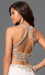 Image of beaded sheer-bodice long prom dress by La Femme Style: LF-23852 Detail Image 2