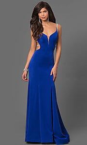 V-Neck Long Strappy Back Prom Dress