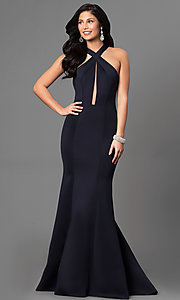 Keyhole Cut Out Open Back Prom Dress