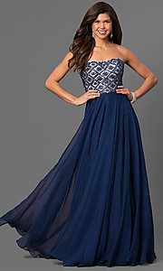 Long Strapless A-Line Chiffon Prom Dress