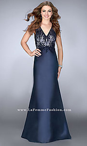 Long V-Neck Embellished-Bodice Prom Dress