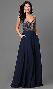 Chiffon V-Neck Long Open Back Prom Dress