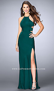Image of long sleeveless evening dress with side cut outs. Style: LF-24380 Detail Image 1