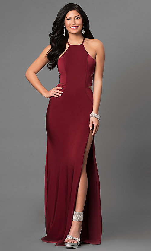 Image of long sleeveless evening dress with side cut outs. Style: LF-24380 Front Image