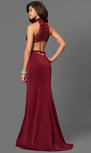 High-Neck Long Prom Dress with Sheer Detailing