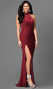 Long Jersey Prom Dress with a High Collar Neckline
