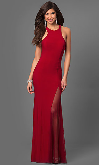 Long Open Back Prom Dress with Fish Net Side Slit