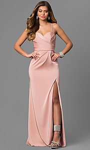 Long La Femme Prom Dress with Multi-Strap Back