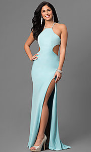 Jersey High Neck Long Prom Dress with Cut Outs