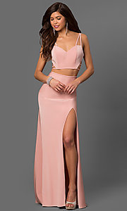 Image of long La Femme prom dress with strappy open back. Style: LF-24030 Front Image