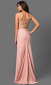 Image of long La Femme prom dress with strappy open back. Style: LF-24030 Back Image