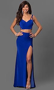 Image of long La Femme prom dress with strappy open back. Style: LF-24030 Detail Image 1