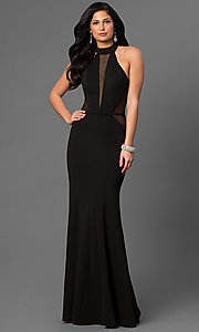 Long Black La Femme Prom Dress with Cut Out Back