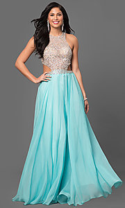 Beaded Sheer Bodice Long Chiffon Prom Dress
