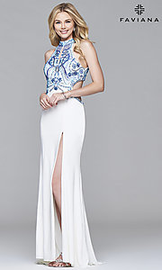 Floor-Length High-Neck Prom Dress with Back Cut Outs