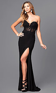 Image of strapless long prom dress with sheer-lace bodice. Style: FA-S7907 Detail Image 1
