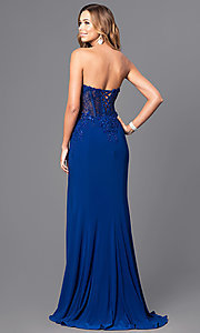 Image of strapless long prom dress with sheer-lace bodice. Style: FA-S7907 Back Image