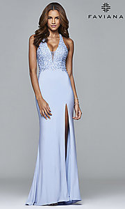 V-Neck Floor-Length Prom Dress with Jewel-Embellished Bodice