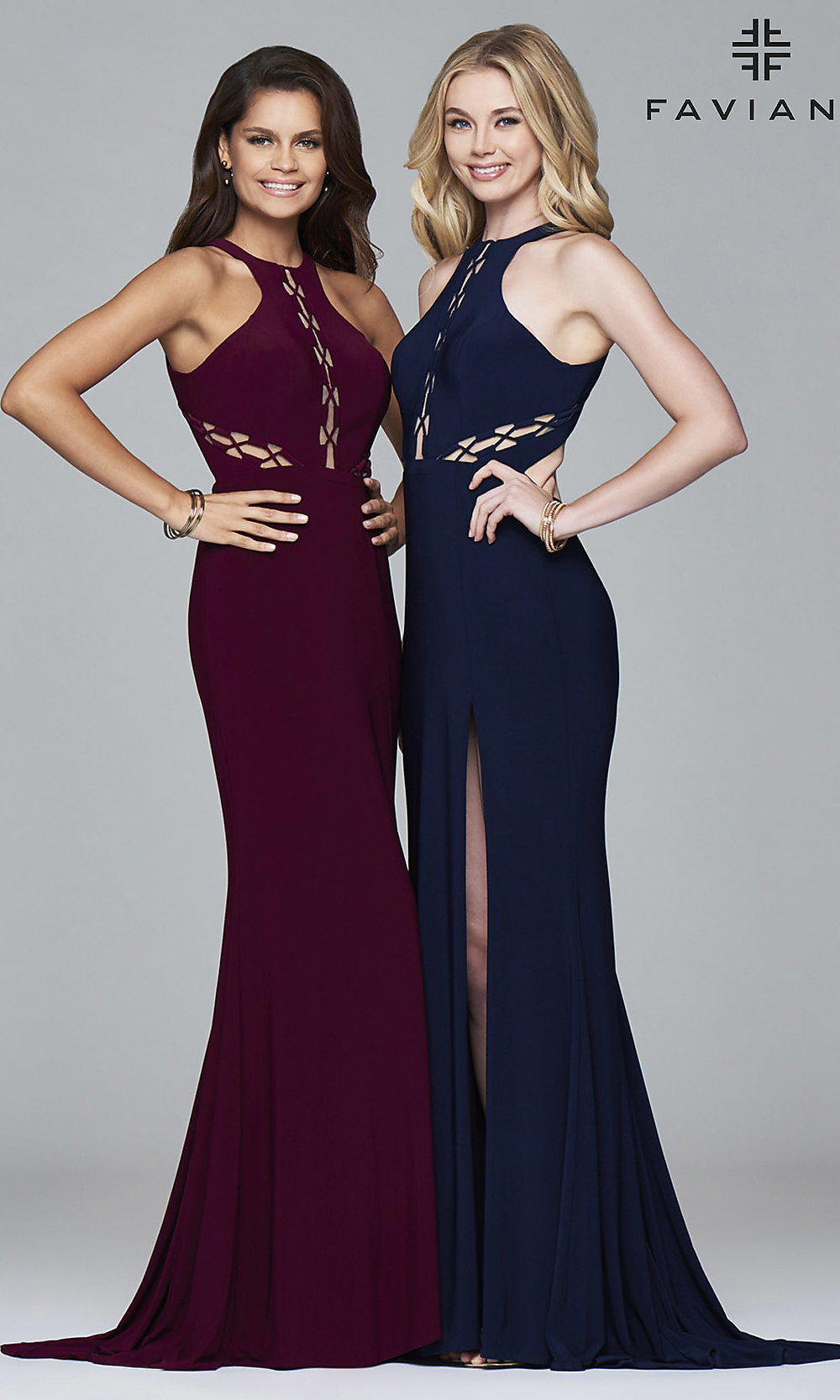 Faviana Long Cut-Out High-Neck Prom Dress -PromGirl