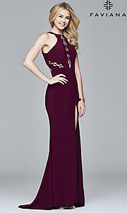 Image of high-neck floor-length Faviana prom dress with cut outs. Style: FA-7909 Detail Image 2