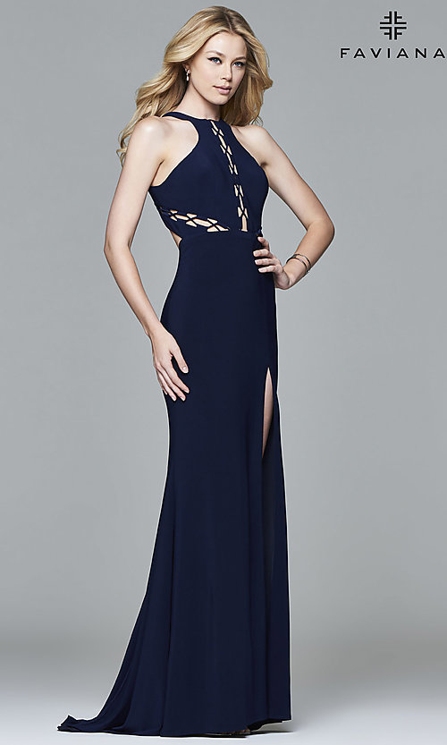 Image of high-neck floor-length Faviana prom dress with cut outs. Style: FA-7909 Detail Image 1