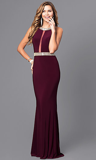 High-Neck Faviana Formal Dress with Embellishments