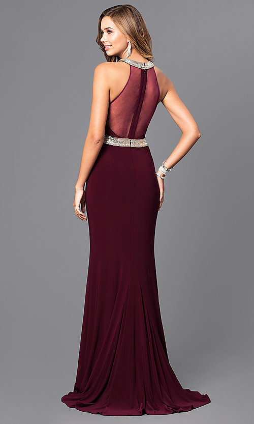 Image of high-neck Faviana formal dress with embellishments. Style: FA-7910 Back Image