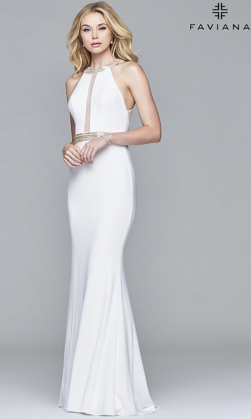 Image of high-neck Faviana formal dress with embellishments. Style: FA-7910 Detail Image 1