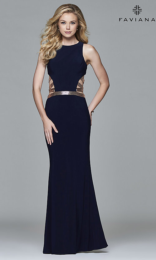 Image of long sleeveless prom dress by Faviana. Style: FA-7912 Back Image