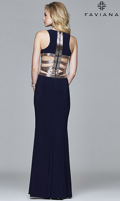 Image of long sleeveless prom dress by Faviana. Style: FA-7912 Front Image