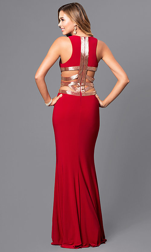 Image of long sleeveless prom dress by Faviana. Style: FA-7912 Detail Image 2
