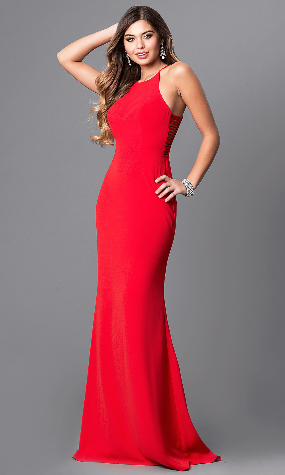 Long High-Neck Cut-Out Faviana Prom Dress -PromGirl